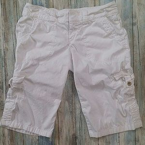 Express Cargo Capri Pants Adjustable Solid White
